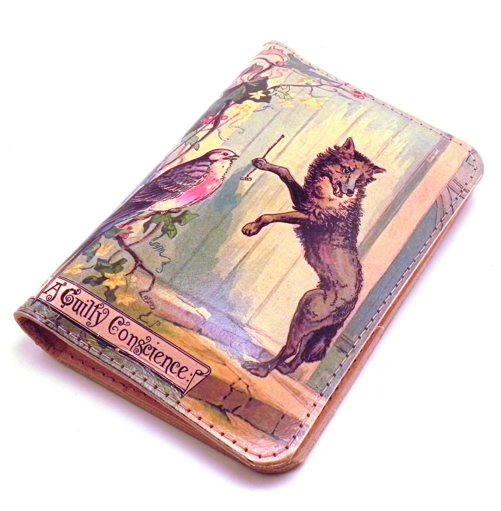 Leather iPhone Wallet - Big Bad Wolf and Little Red Riding Hood.